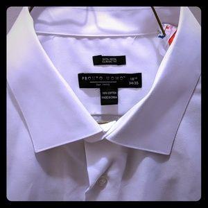 Pronto Uomo white dress shirt 18.5 34/35